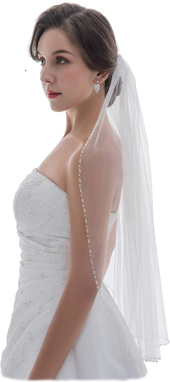 SAMKY 1T 1 Tier Pearl Crystal Beaded Edge Bridal Wedding Veil