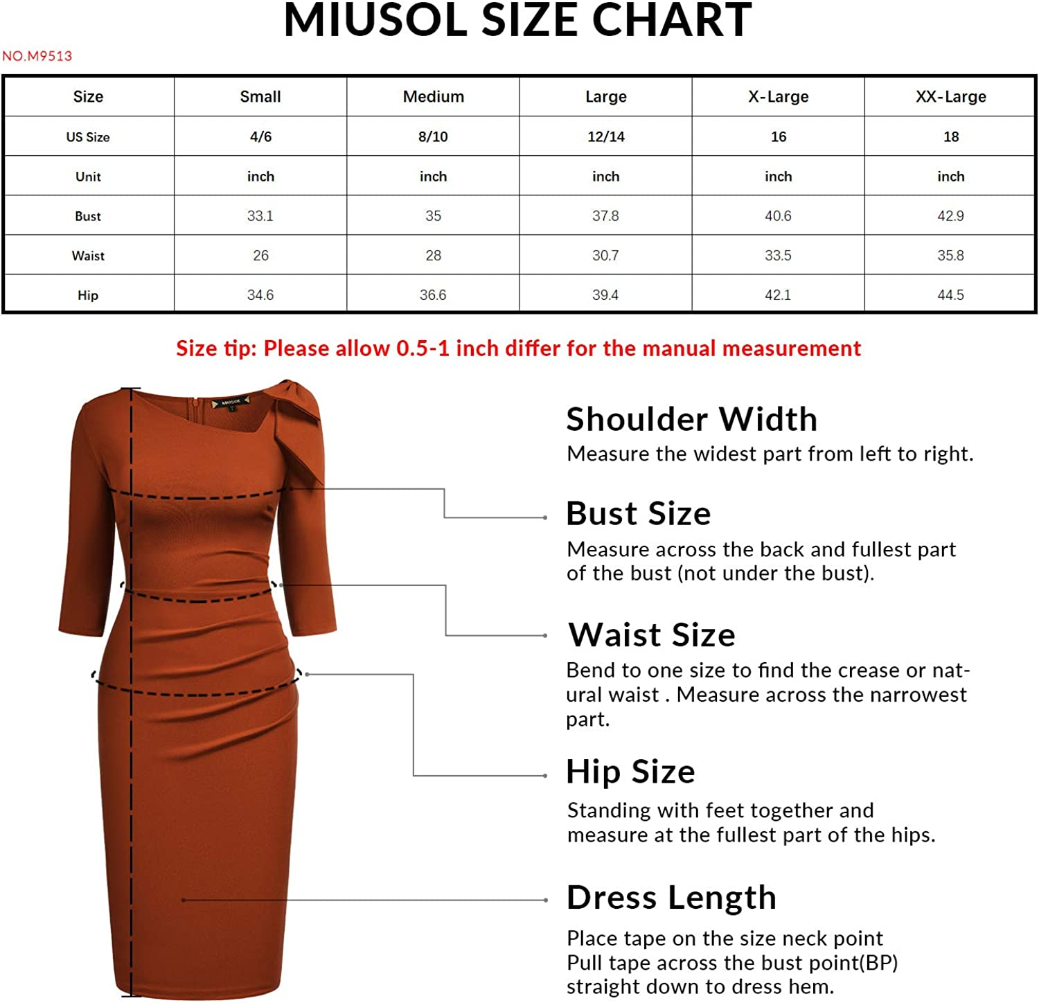 Miusol Women's 1950s Style Bow 2/3 Sleeve Business Pencil Dress