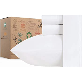 100% Organic Cotton Sheets - Crisp and Cooling Percale Weave, GOTS Certified 4 Piece Bedding Set, Deep Pocket with All-Around Elastic (Queen, Pure White)