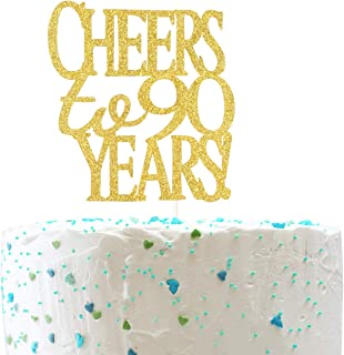 Cheers to 90 Years Cake Topper -Gold Glitter Hello 90 - Happy 90 Birthday Cake Topper
