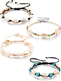 meekoo 4 Pieces Natural Cowrie Shell Ankle Bracelets Seashell Crochet Ankle Bracelet Handmade Boho Anklet Jewelry Adjustable Shell Bead Anklet for Women Girls Hawaii Beach Parties