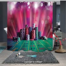 SCOXIXI Bathroom Decoration Cozy Lovely Shower Curtain,Stack of Gambling Chips Success Wealth Winner Lucky Betting Decorative,for Master,Kid's,Guest Bathroom,Standard(59.05