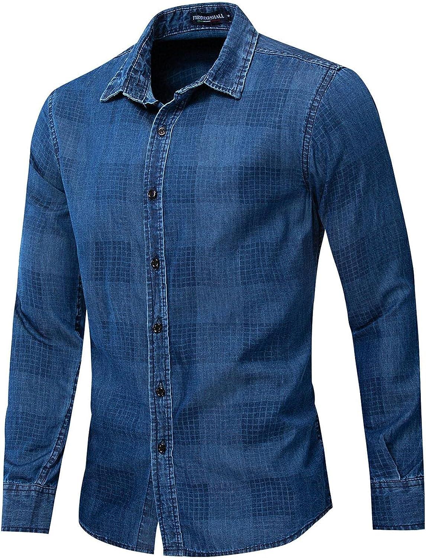 Men's Business Dress Shirt Casual Cotton Long Sleeve Dress Shirt Plaid Slim Fit Shirt Casual Button Down Shirt