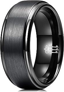 ثلاثة مفاتيح مجوهرات الرجال 8 مم أسود مع حافة زرقاء من كربيد التنجستن خاتم الزفاف شقة هدية الفرقة