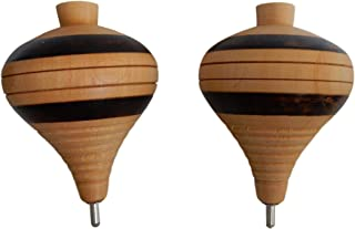 3 Pack, Assorted Colors 3 Pack Wooden Spin Tops Metal Tips Made in Mexico Premium Quality