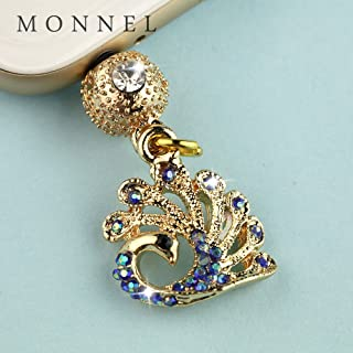 ip695B Cute Blue Crystal Peacock Crown Anti Dust Charm Plug fit for iPhone7/6 /6s