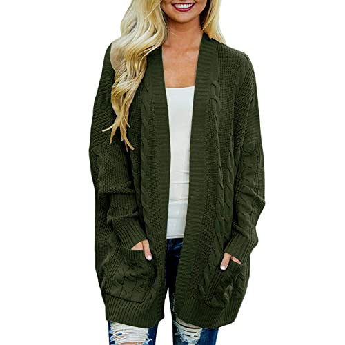 3177fc2e05d5d6 Doballa Women's Boyfriend Open Front Long Sleeve Cable Knit Aran Twisted Cardigan  Sweaters Coat With Pockets
