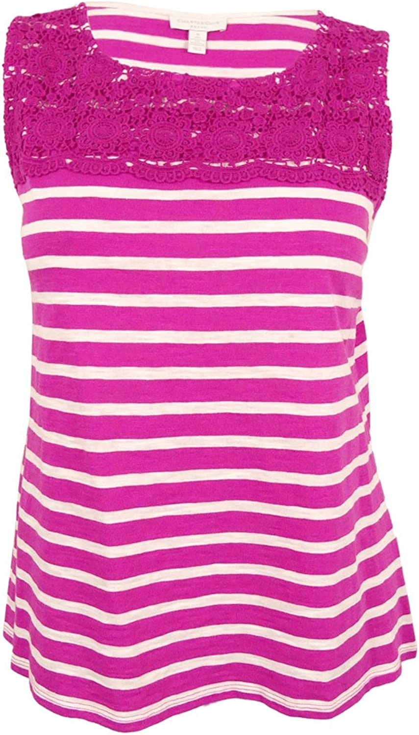 Charter Club Womens Plus Crochet Front Boat Neck Tank Top Pink 2X