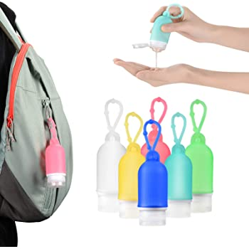 6 Pcs Hand Sanitizer Holder Travel Size, Leak Proof Silicone Travel Bottles Set, Keychain Container for Toiletries, Shampoo,Conditioner,Liquid, Cosmetic(50ml/1.6oz)