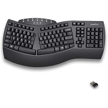 Perixx Periboard-612 Wireless Ergonomic Split Keyboard with Dual Mode 2.4G and Bluetooth Feature, Compatible with Windows 10 and Mac OS X System, Black, US English Layout