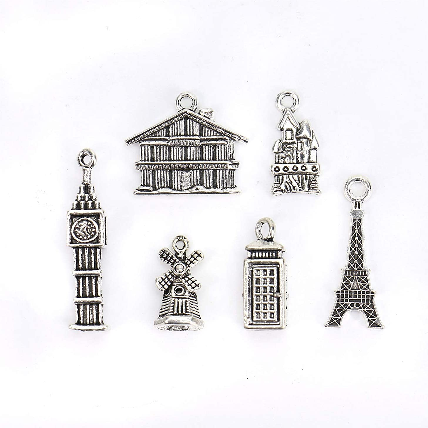 Monrocco 60 Pcs Antique Silver Travel Building Charm Pendant House Windmill Castle Eiffel Tower Charms for Bracelets Jewelry Making