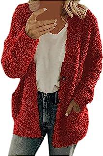Abrigo de suéter de Felpa de Ocio de otoño/Invierno para Mujer, Top de Talla Grande, Abrigo de botón de Lana de Moda para ...