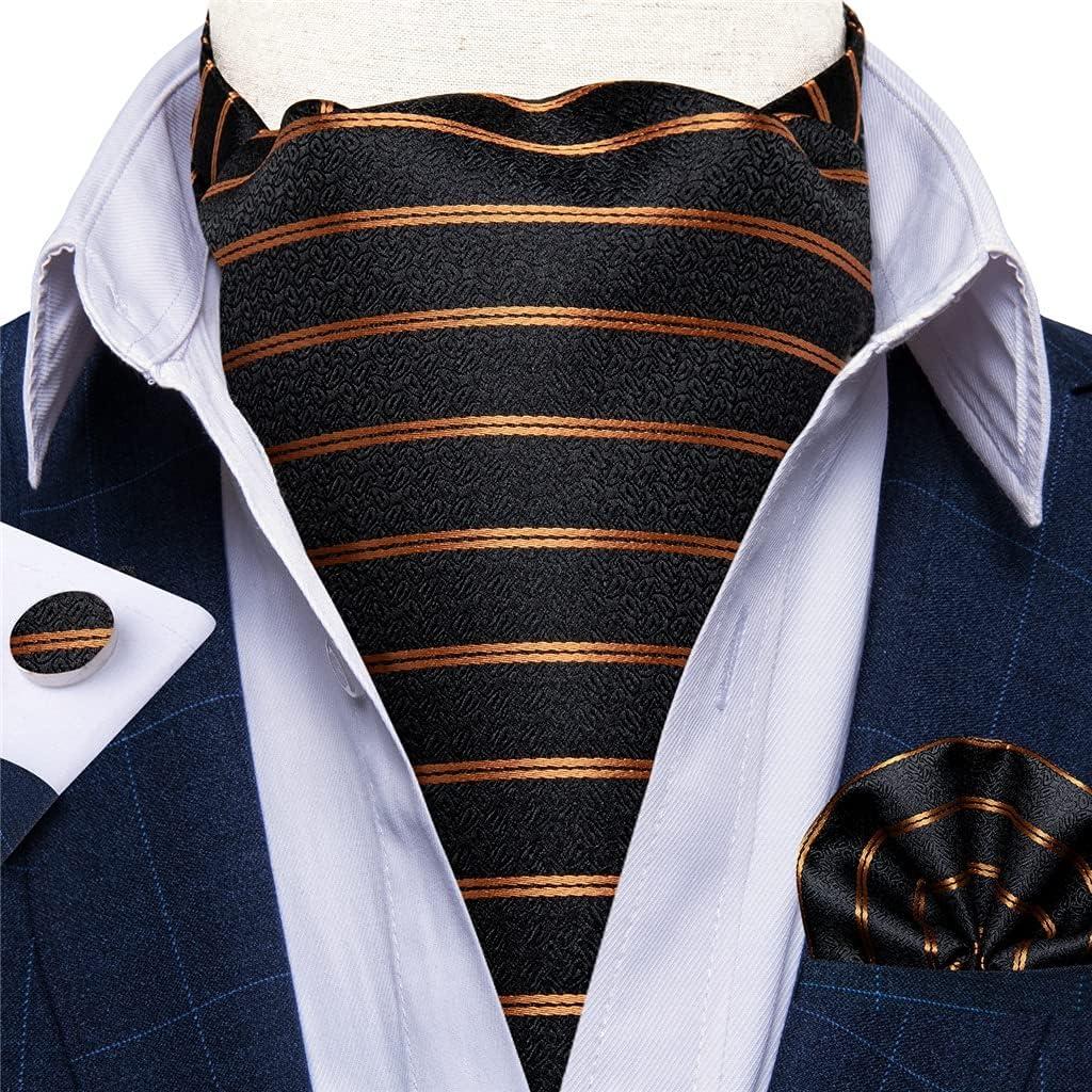 CFSNCM Men Vintage Gold Black Striped Cravat Tie Wedding Formal Self British Style Silk Necktie Pocket Square Set (Color : A, Size : One size)