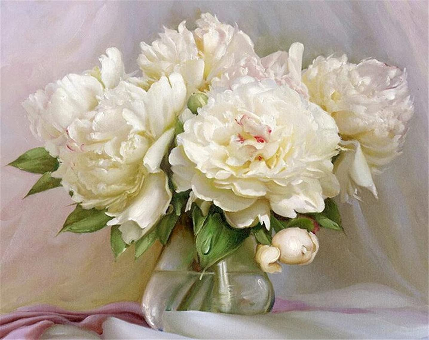 YEESAM Art Paint by Number Kits for Adults Kids - White Peonies 16x20 inch Linen Canvas (Without Frame)