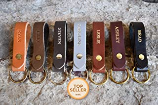 Personalized Custom Leather Keychain | Any Name — Great Gift for Men or Women | Many Colors & Styles | Hand-Made in MN, USA | Free Shipping
