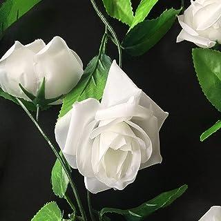 Lote 5 guías Enredaderas Artificiales con Flores Rosas Artificiales de Seda Muro Verde (Blanco)
