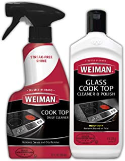 Weiman Ceramic and Glass Cooktop Cleaner - 10 Ounce - Stove Top Daily Cleaner Kit - 12 Ounce - Glass Ceramic Induction Coo...