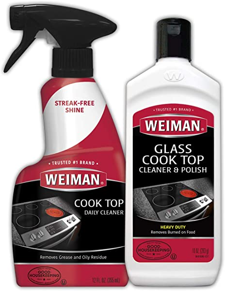 Weiman Ceramic And Glass Cooktop Cleaner 10 Ounce Stove Top Daily Cleaner Kit 12 Ounce Glass Ceramic Induction Cooktop Cleaning Bundle For Heavy Duty Mess Cleans Burnt On Food