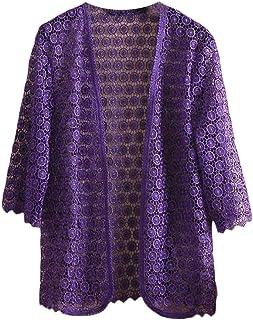 Macondoo Womens Lace Open Front Crochet 3/4 Sleeve Kimono Cardigan