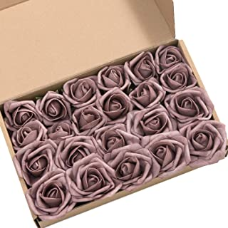 Ling's moment Roses Artificial Flowers 24pcs Realistic Dusty Rose Rose Buds and Petite Roses w/Stem for DIY Wedding Bouquets Centerpieces Boutonniere Corsages Flower Decorations