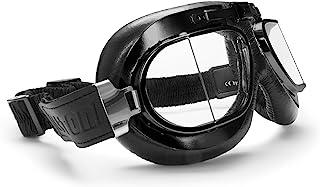 Bertoni Vintage Motorcycle Goggles with Antifog and Anticrash Squared Lenses - Matt Black Steel Rim - AF193A Motorbike Avi...