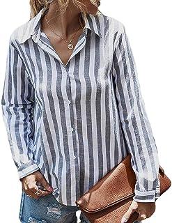 قمصان MU2M نسائية كلاسيكية ضيقة ضيقة بأكمام طويلة مخططة بأزرار