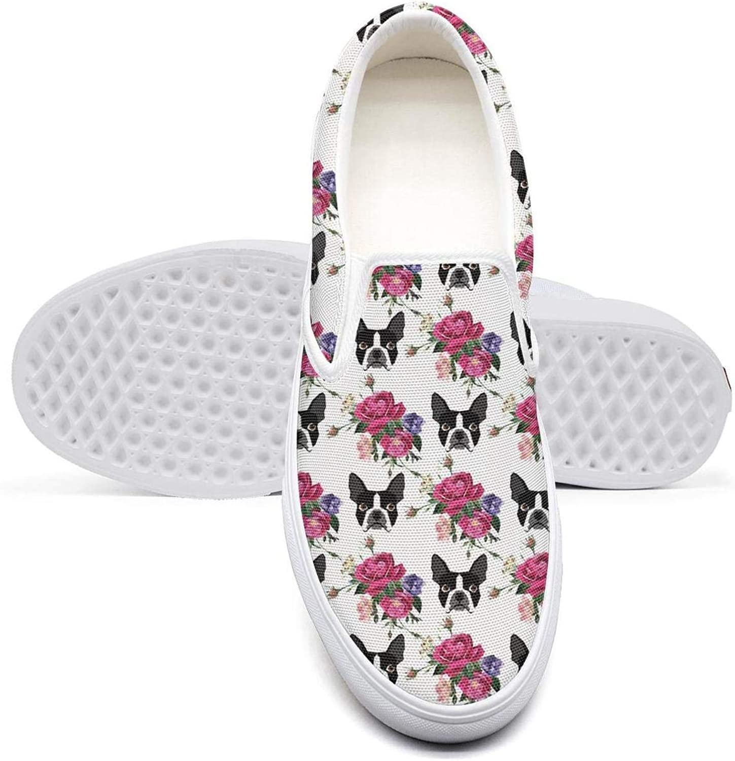 VXCVF Flower and French Bulldog Dog Mens Canvas Shoes Loafers shoefor Mens