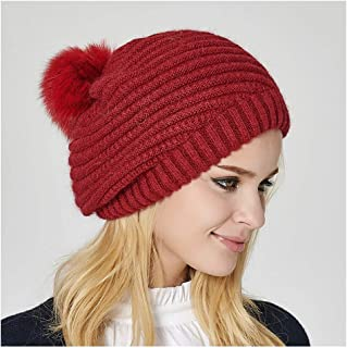 JCY Winter Ladies Beanie Hat Plush Ball Removable, Easy to Clean,Knit Hat, with Elastic, Adjustable,Fashion Style (Color : Red)