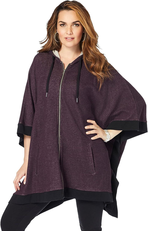 Roaman's Women's Plus Size Hooded Zip Poncho Hoodie