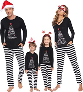 iClosam Matching Family Christmas Pajamas Set Holiday Pajamas Sleepwear Mom Dad PJs