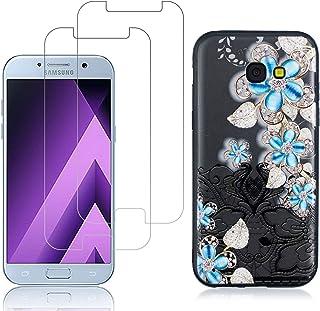 comprar comparacion YKTO Cristal Templado + Funda para Samsung Galaxy A5 2017 A520 5.2 Pulgadas Fina 3D Moda Dibujos Antigolpes Caso [2 Piezas...