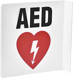 "AdirMed AED Locator 90D Sign - Commercial Grade Wall Mounted Plastic - Easy Directions for Emergency Concerns for Office & Hospital 8"" x 8""."