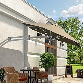 PARASOL WYZQQ Leisure 2.5m Square Wall Mounted Cantilever Aluminium Frame Polyester Canopy Outdoor Wall Umbrella for Backyard for Outdoor, Garden and Patio