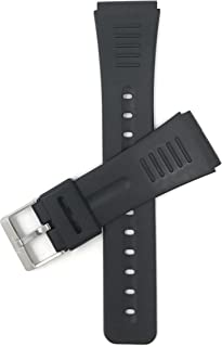 22mm Mens Rubber Watch Band, Black Stainless Steel Buckle (2 Spring Bars Included)