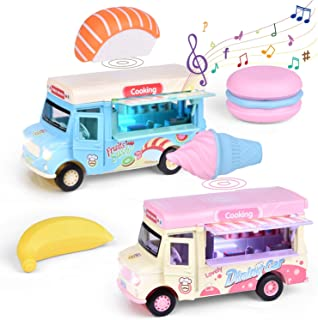 FunLittleToy 2 Pack Pull Back Cars Food Trucks Ice Cream Cars with Music and Light Metal Toy Cars Baby Easter Gift for Toddlers Girls and Boys