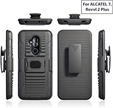 Customerfirst Cover for Alcatel 7/ REVVL 2 Plus/ 6062/ Alcatel 7 Folio [Magnet Mount Ready] Ring Armor Holster 5 in 1 Rugged Case with Ring Finger Holder, Kickstand + Holster Belt Clip for ALCATEL 7
