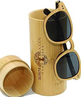 SUNTROPEZ - GAFAS DE SOL DE MADERA, Gafas de sol de madera polarizadas, Gafas de marco de madera ecológicas hechas a mano, Gafas de sol Unisex para hombres y mujeres de madera real