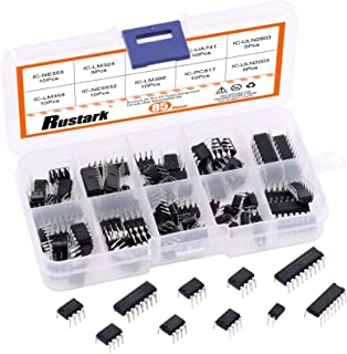 Rustark 85 Pcs 10 Types Integrated Circuit Chip Assortment Kit Opamp, Oscillator Includes LM324,LM358,LM386,LM393,UA741,NE...