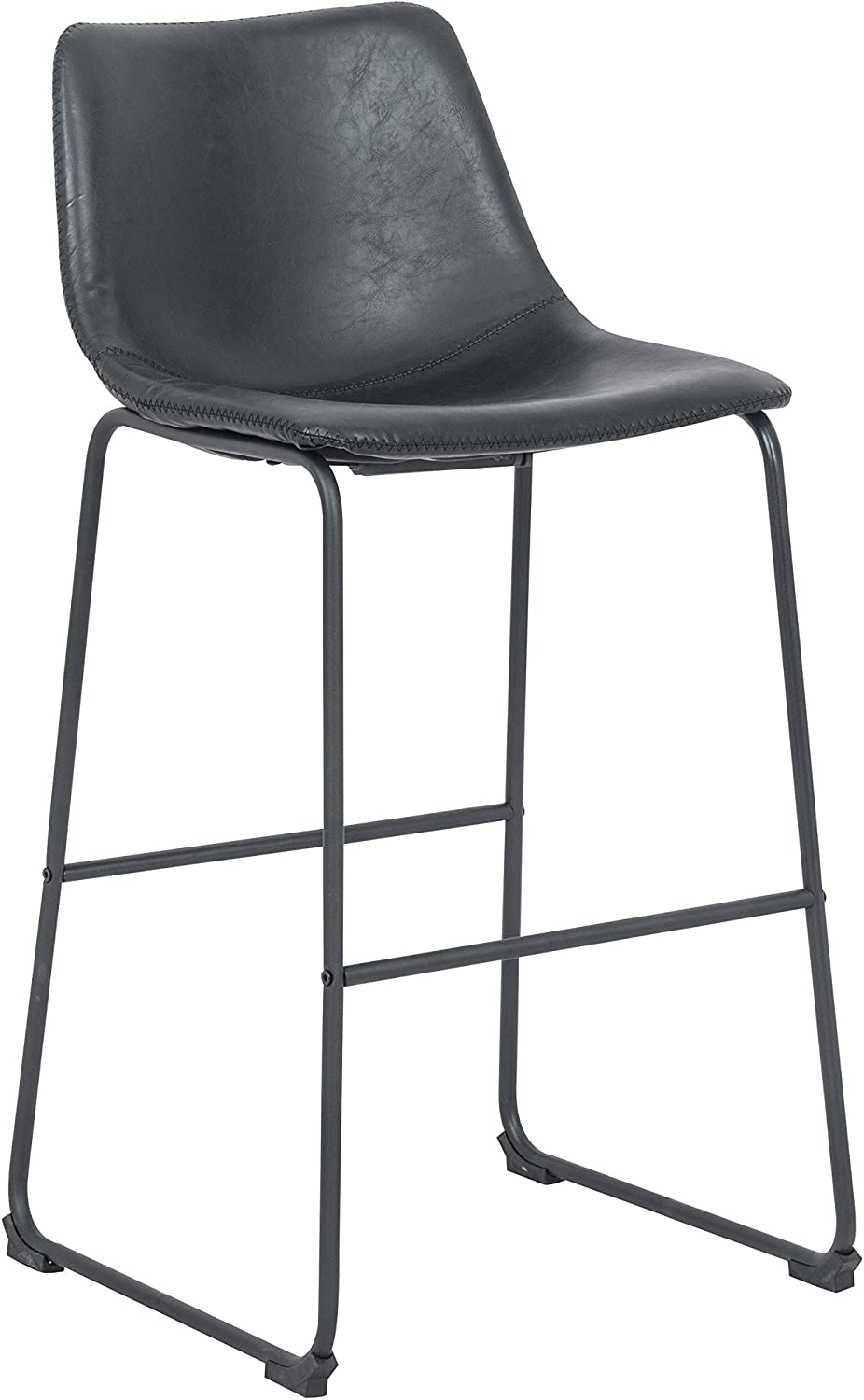 silver Import PDI-HY-7163A-4-BL Lotusville Vintage PU Leather Dining Chair, Black