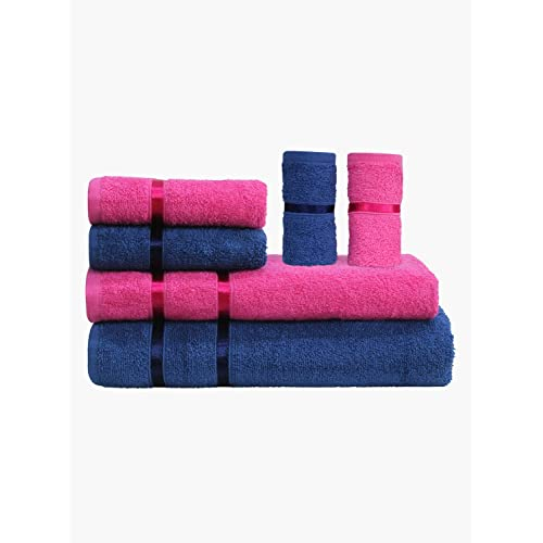 Story@Home 6 Piece Cotton Bath And Hand Towel Set - Pink And Navy