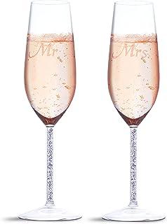 comprar comparacion Juego de 2 copas de champán para boda – Juego de 2 copas de champán – 1 par de copas de 4,3 x 6,8 x 24,13 cm