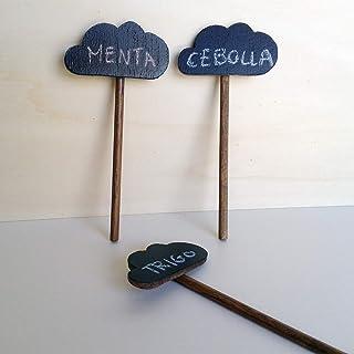 Set de 5 marcadores para plantas hechos de madera - Pizarra y nogal