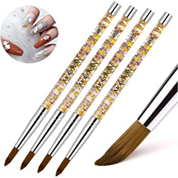 Morovan Acrylic Nail Brush 1PCS Pure Kolinsky Sable Hair Round Oval Professional Nail Art Painting Brush With Special Liquid Glitter Handle for Manicure Pedicure Application (SIZE 8)