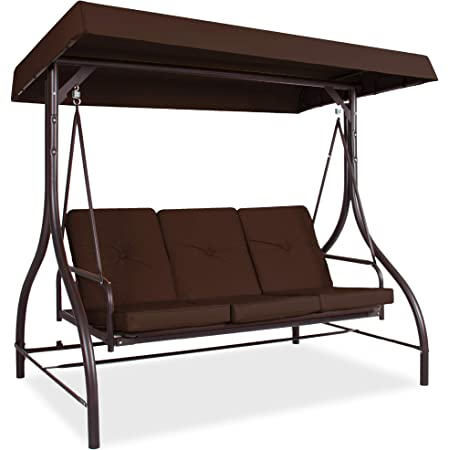 Amazon Com Best Choice Products 3 Seat Outdoor Large Converting Canopy Swing Glider Patio Hammock Lounge Chair For Porch Backyard W Flatbed Adjustable Shade Removable Cushions Brown Garden Outdoor