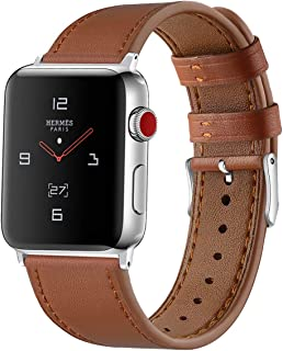 Tobfit Leather Bands Compatible with Apple Watch Band 38mm 40mm 42mm 44mm, Genuine Leather Replacement Band Compatible with iWatch Series 5/4/3/2/1
