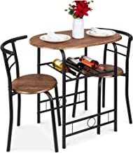 Best Choice Products 3-Piece Wooden Round Table & Chair Set for Kitchen, Dining Room, Compact Space w/Steel Frame, Built-in Wine Rack - Black/Brown