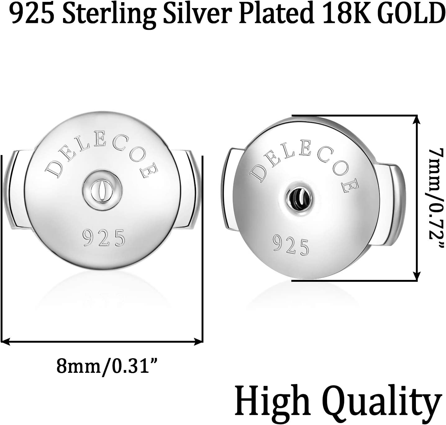 2 Pairs//4pcs 18K Gold Plated Secure Hypoallergenic Earring Backs for Diamond Studs 18K Yellow Gold No Fading Comfort Earring Backs DELECOE Sterling Silver Locking Earring Backs Replacements