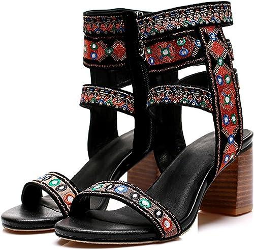 Huaishu Chaussures Brodées Pour Femmes Sandales à Bout Ouvert En Cuir à Bout Ouvert,noir,39