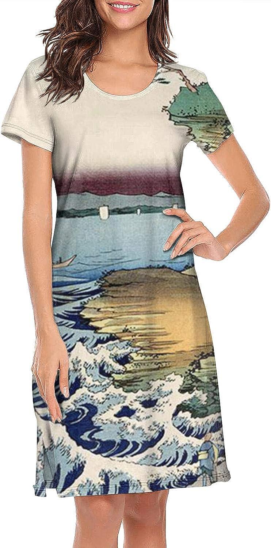 ZWEN Women's Ukiyo-e Wave Mountain Whale Nightgown Lightweight Nightshirt Funky Sleepshirts