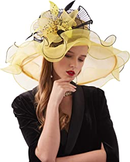 Women Organza Fascinator Church Kentucky Derby Hat Floral Tea Party Wedding Hat